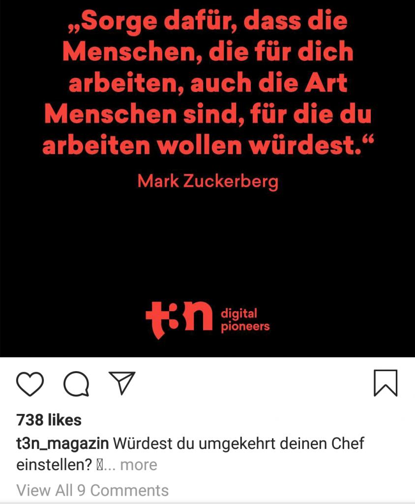 Der perfekte Instagram-Post zieht in der 1. Zeile die Aufmerksamkeit auf sich.